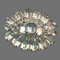 Vintage Large Dimensional Clear Rhinestone Pin Brooch