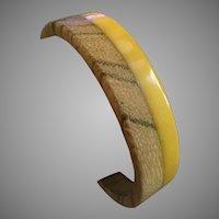 Vintage Bakelite & Wood Yellow Bangle Bracelet