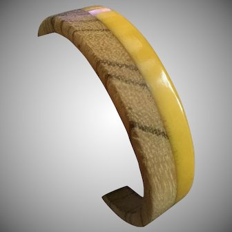 Vintage Bakelite & Wood Yellow Bangle Bracelet