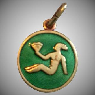 Vintage David Andersen Round Vermeil Sterling Silver  Guilloche Zodiac Virgo Charm