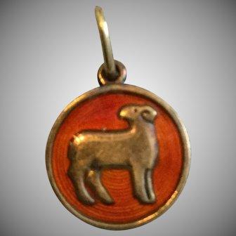 Vintage David Andersen Round Vermeil Sterling Silver  Guilloche Zodiac Aries Charm