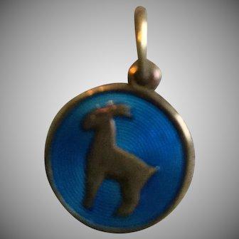 Vintage David Andersen Round Vermeil Sterling Silver Guilloche Zodiac Capricorn Charm