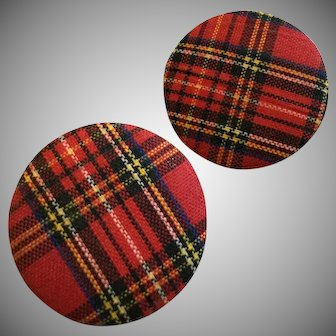 Vintage Red Plaid Tartan Pierced Post Earrings