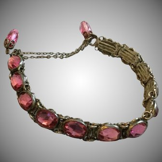 Vintage Pink Faceted Beveled Stone and Silver Adjustable Bracelet with Dangle Clasp Unusual