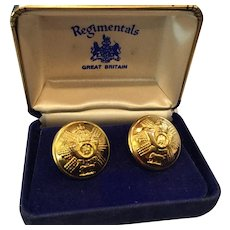 Vintage Wm. Anderson & Sons Regimental Goldtone Domed Cufflinks w/Original Box