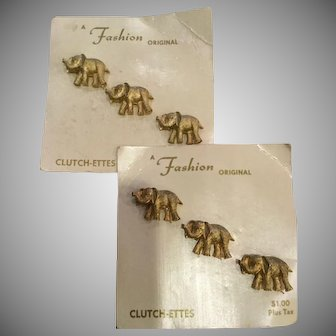 6 Vintage Elephant Lapel Clutch Pins, Republican, GOP, Animal Lovers