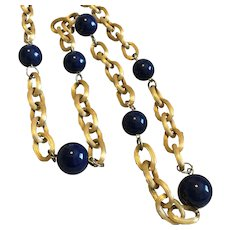"Vintage Les Bernard Long 28"" Goldtone Chain Necklace with Blue Beads"