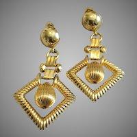 Vintage Bookchain Long Dangle Goldtone Clip Earrings