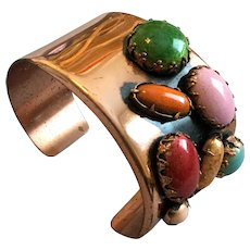 Vintage Matisse Copper and Multicolored Stone Bangle Branch