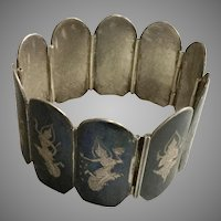 Vintage Siam Silver Sterling Wide Bracelet, 7 Inches
