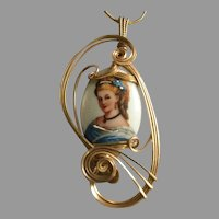 Vintage Limoges France Hand-Painted Porcelain Lady in Swirled Wire Frame Pendant