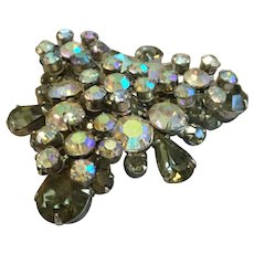 Vintage Juliana D&E Olive Green and AB Stones Dimensional Pin Brooch