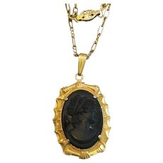Vintage Cameo and Gold-Filled Paper Clip Chain Necklace