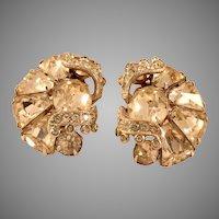 Vintage Eisenberg Clear Kite Rhinestone Clip Earrings; Perfect for Weddings