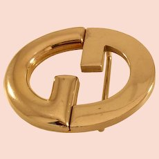 Vintage 1970s Gucci Double G Silvertone Belt Buckle