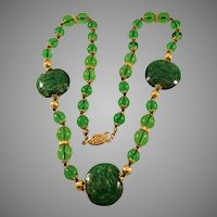 """Vintage 22"""" Green Glass Bead Necklace"""