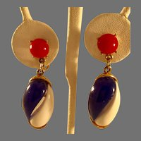 Vintage Red, White, and Blue Patriotic Dangling Clip Earrings