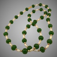"""Vintage 27"""" Long Necklace with Jade Beads and Freshwater Pearls"""
