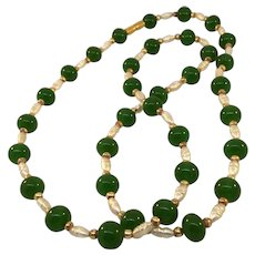 "Vintage 27"" Long Necklace with Jade Beads and Freshwater Pearls"