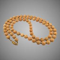 "Vintage Orange Jasper Stone Bead 30"" Long Necklace"