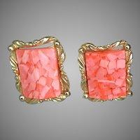 Vintage MCM Pink Confetti Lucite Clip Earrings
