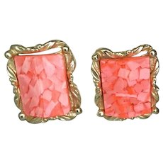 Vintage MCM Pink Confetti Lucite Clip Earrings