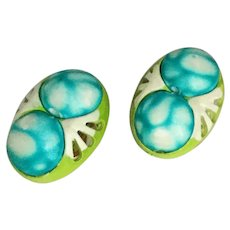 Vintage 1960s Mod Blue White and Lime Green Clip Earrings