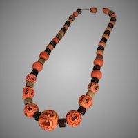 Vintage 1940s Handmade Orange Carved Bead Choker Necklace