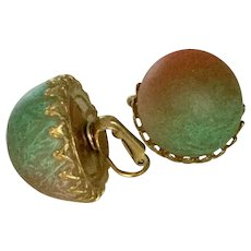 Vintage Green to Orange Lucite Domed Orb Clip Earrings