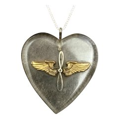 """Vintage Sweetheart Jewelry; Lucite Heart with Silver and Brass Winged Propellor on 20"""" Sterling Chain Necklace"""