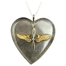 "Vintage Sweetheart Jewelry; Lucite Heart with Silver and Brass Winged Propellor on 20"" Sterling Chain Necklace"