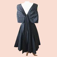 Vintage 1950s Anne Fogarty Black Silk Taffeta Dress w/Massive Back Bow, S, LBD