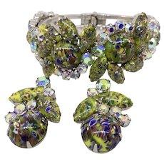 Vintage Juliana D&E Olive Green Swirling Stones Clamper Bracelet and Earrings Set, Astonishing Stones