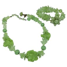 Vintage Miriam Haskell Lime Green Molded Glass Necklace and Two-Strand Bracelet Set