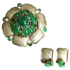 Vintage Hobè Brooch Pin and Earrings Set, Dome Shaped with Green Cabs and Rhinestones, LARGE