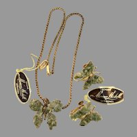 Miriam Haskell Vintage Green Jade Butterfly Necklace and Earrings Demi Set 1970s Original Tags