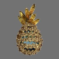 Alice Caviness Vintage Pineapple Pin Brooch with Yellow Rhinestones,  and Large Caged Aqua Rhinestones, Dimensional
