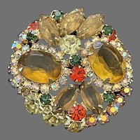 Juliana Vintage D&E Dimensional Pin With Yellow, Orange, Green, Lemon, and AB Stones