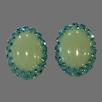 Vintage Celluloid & Rhinestone Blue and Green Oval Clip Earrings