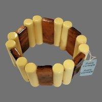 Vintage Hattie Carnegie Light Yellow & Faux Tortoise Lucite Stretch Bracelet