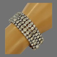 Vintage Clear Rhinestone Wide Bracelet w/ Safety Chain