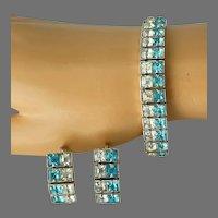 Vintage 1930s Pretty Aqua Blue and Clear Square Rhinestones Bracelet & Earrings Set