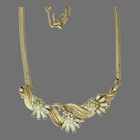 Vintage 1950s Crown Trifari Clear Rhinestone and Goldtone Necklace