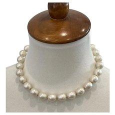 "Vintage Trifari Dimpled Faux Pearl Short 16"" Necklace, w Original Tag"