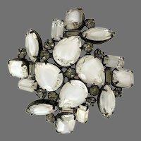 Vintage Hattie Carnegie White Givre Rhinestone Dimensional Pin Brooch
