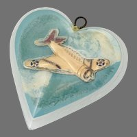Vintage Thick Lucite WWII Sweetheart Pendant of Airplane in Blue Sky, Heart-Shaped