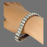 Vintage Kramer of New York Clear Rhinestone Double Line Bracelet, w/ Safety Chain