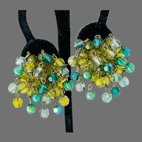 Vogue Vintage Green and Blue Cha-Cha Clip Earrings