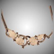 Pre-1955 Trifari White Molded Glass Fruit Necklace