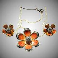 Vintage Nolan Miller Peach Orange Flower Necklace and Clip Earrings